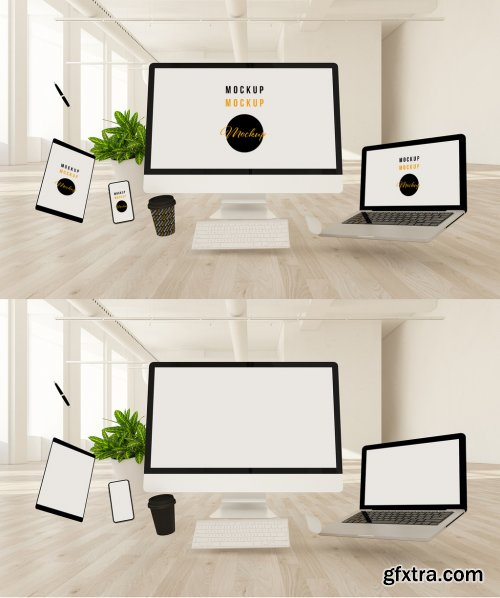 Computer and Devices Floating Above a Wooden Floor Mockup 333544398
