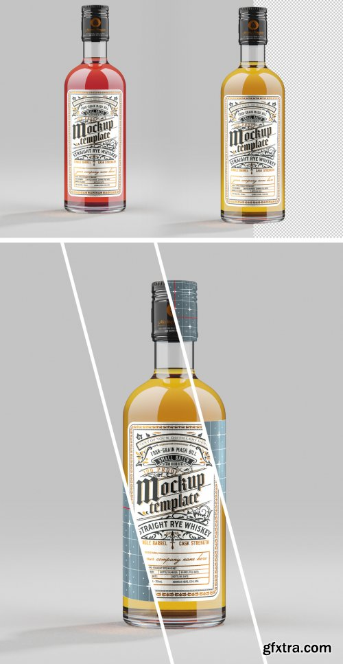 Whiskey Glass Bottle Mockup 333541575