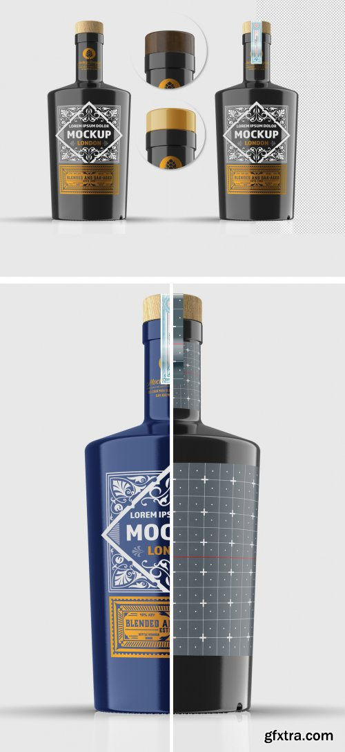 Dark Glass Bottle Mockup 333540326
