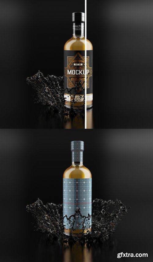 Whiskey Glass Bottle Mockup 333538130