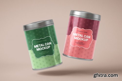 CreativeMarket - Glossy Metal Tin Can Box Mockup Set 4725196