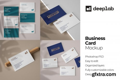CreativeMarket - Business Card Mockup Set With Shadow 4606553