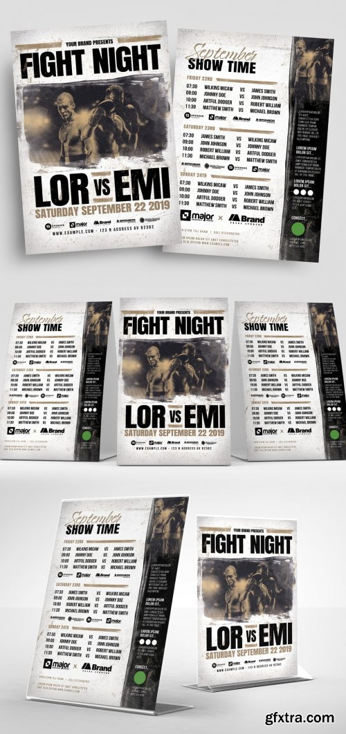 Boxing or Mma Fight Night Flyer Layout 334302499