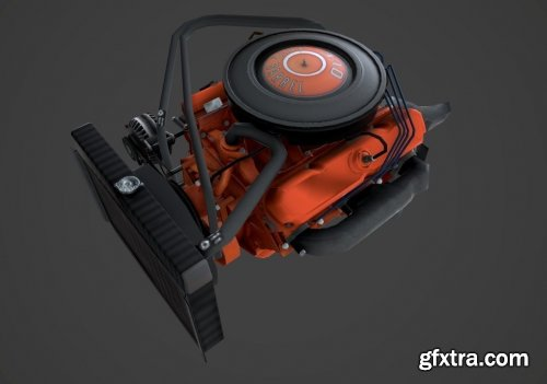 MOPAR V8 lowpoly VR / AR / low-poly 3d model