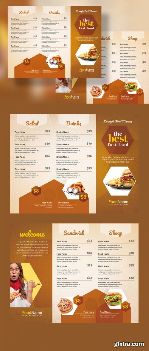 Golden Food Menu Trifold Layout with Hexagon 333558924