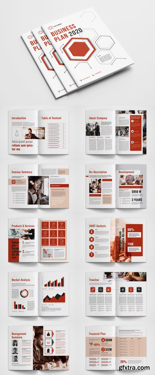 Business Plan Layout with Red Accents 334538209