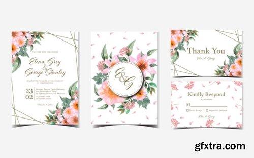 Set of Pink Floral Wedding Invitation