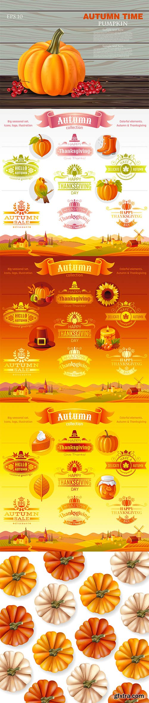 Autumn Pumpkins Collection and Thanksgiving Icon Logo Set