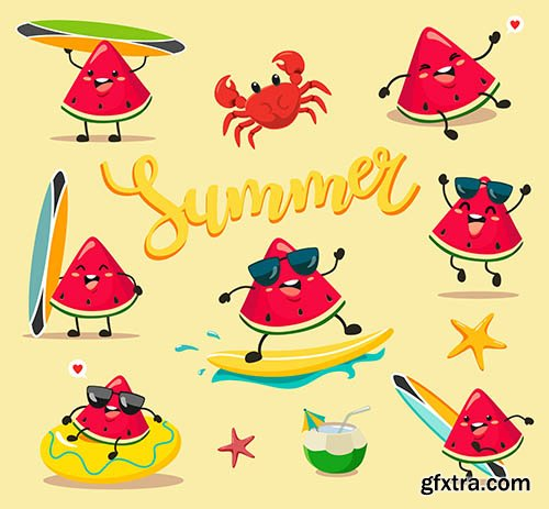 Funny Cute Summer Watermelons Cartoon Style Kawaii