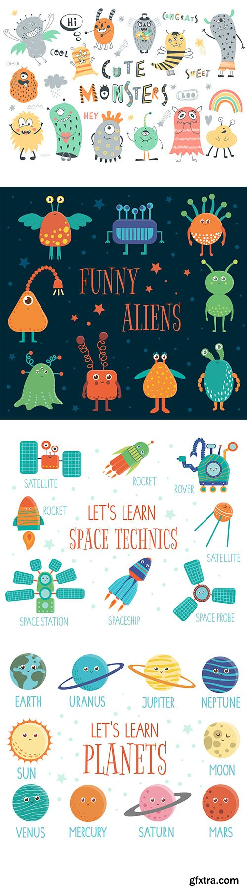 Funny Aliens Cute Monsters, Space Technics and Planets