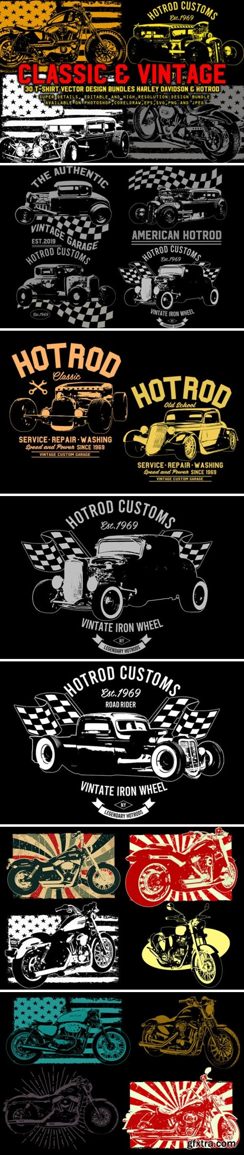 Vintage Harley & Hotrod Bundle Pack 3776531