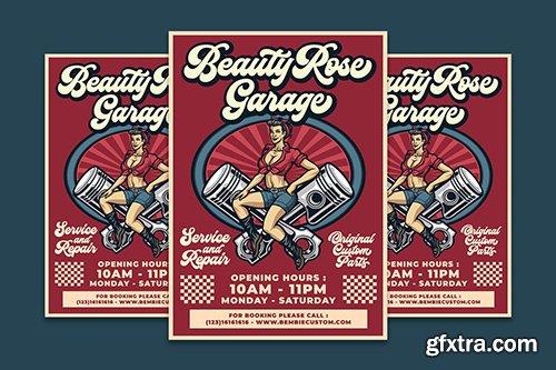 Beauty Rose Garage Flyer Template