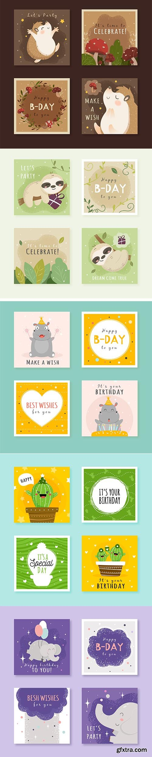 Birthday Cards with Colorful Party Elements