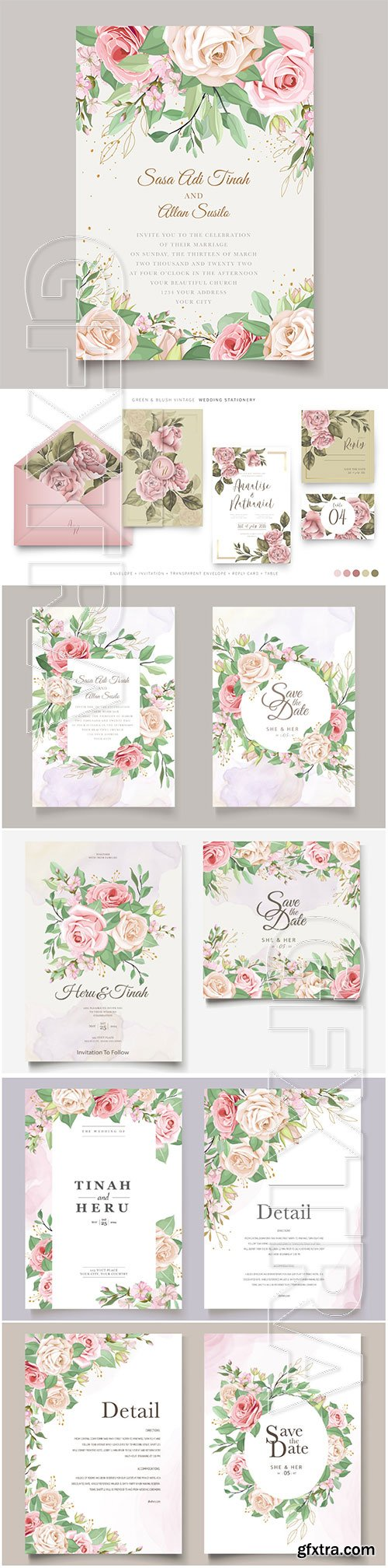 Wedding invitation cards with beautiful roses in vector