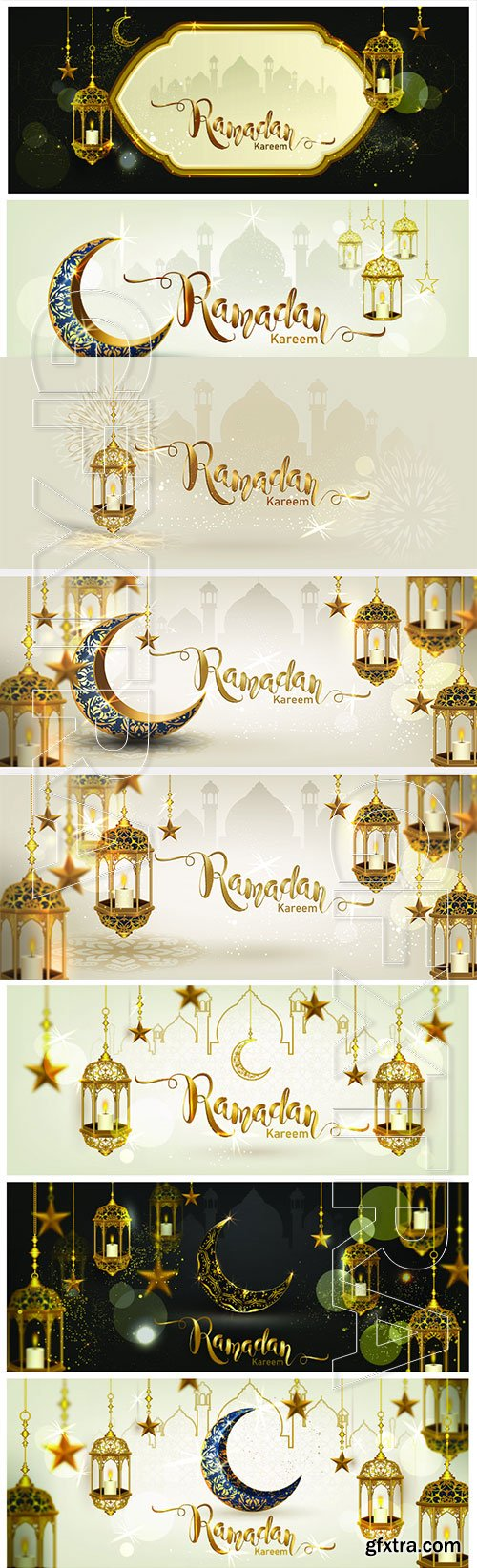 Ramadan Kareem with gold luxurious crescent,  islamic ornate element