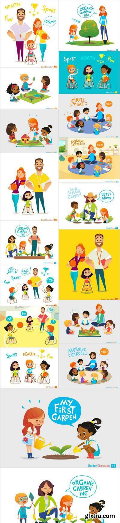 Cartoon people and Physical disability – social project – Set of 18xEPS Professional Vector Stock