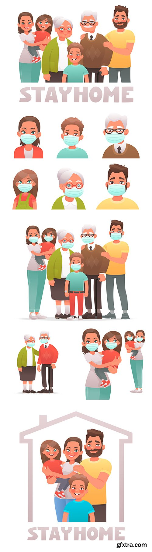 Family wearing protective medical masks from coronavirus