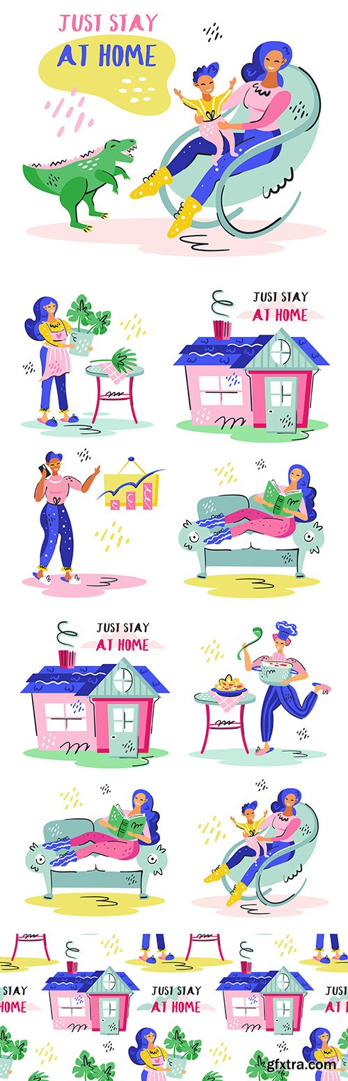 Just stay home self-insulating flat illustrations