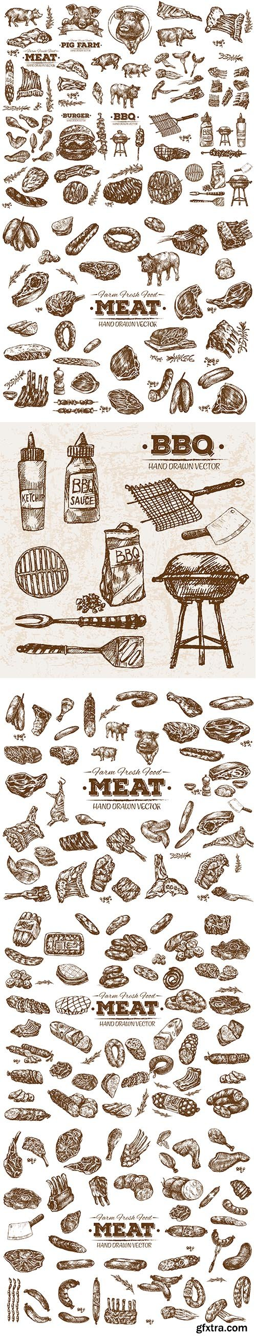 Hand-Drawn Meat Collection