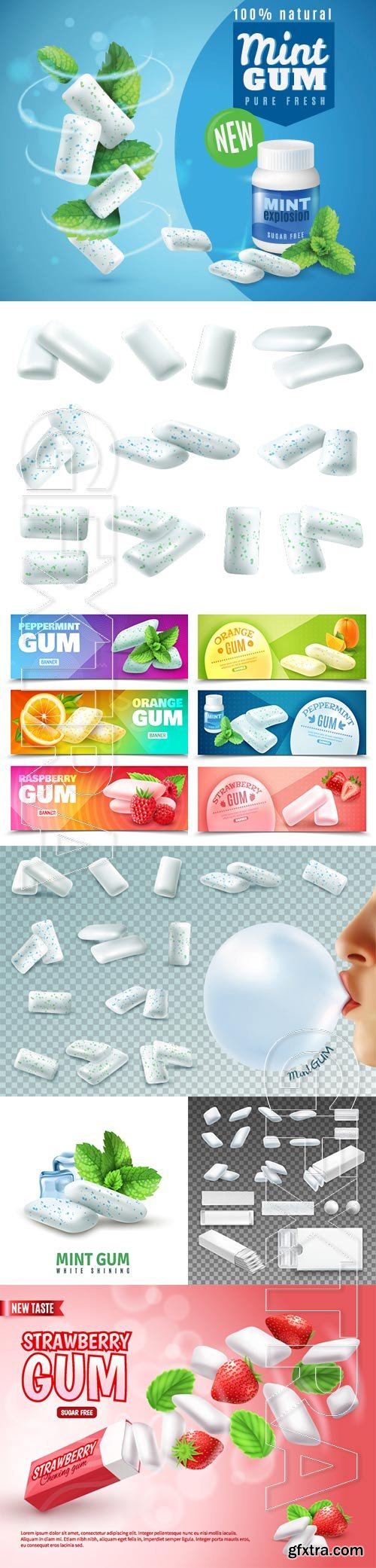 Realistic chewing gums vector set