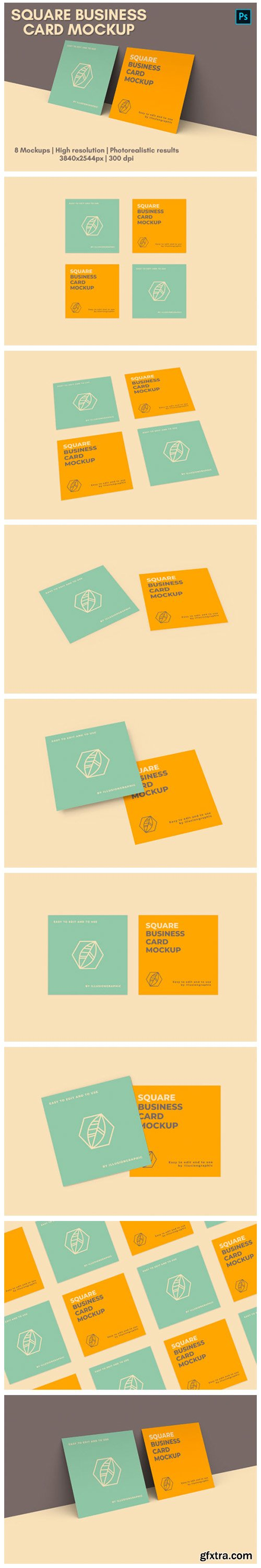 Square Business Card Mock-up - 8 Views 3697292
