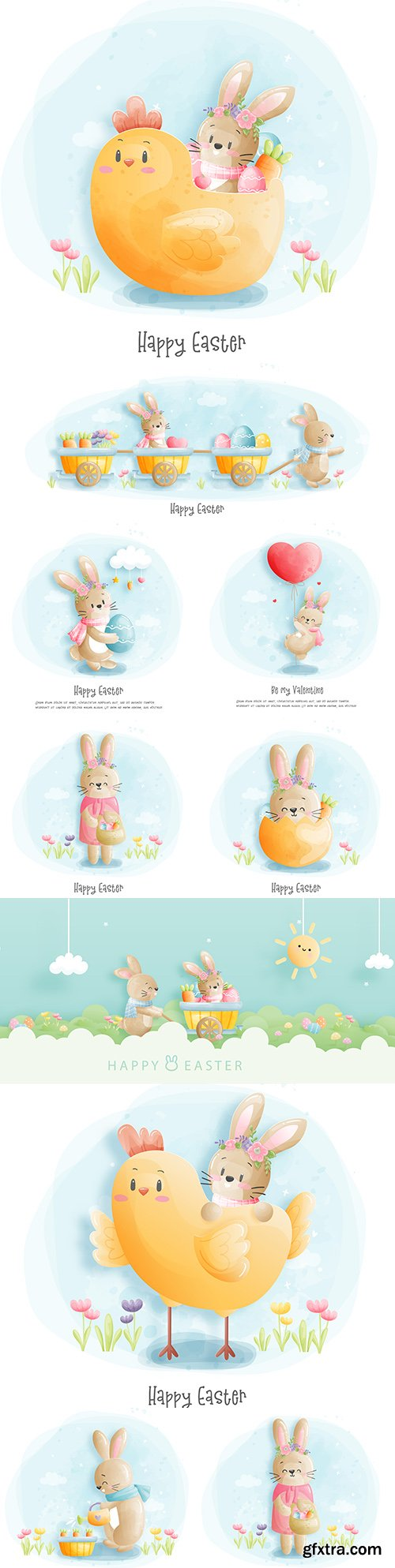 Happy Easter watercolor happy with illustration rabbit and chicken