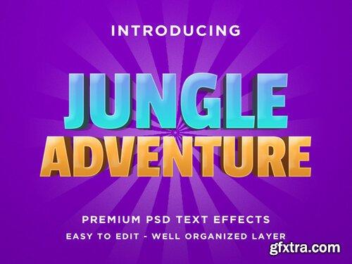 Jungle adventure - 3d text effect psd template Premium Psd