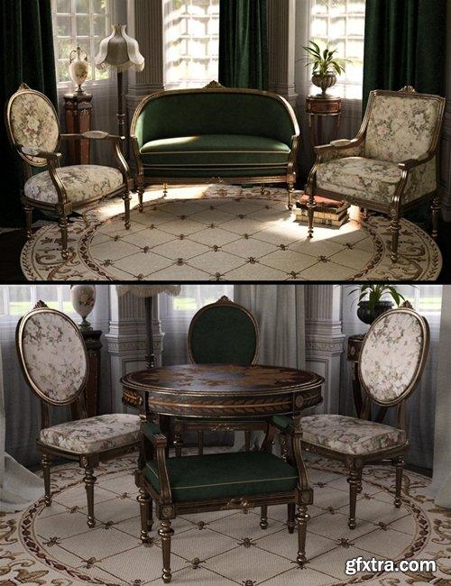 Daz3D - Reupholstered for Vintage Furniture Iray