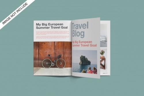 A4 Opened Magazine Mockup Top Angle View Premium Psd Premium PSD