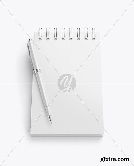 Matte Notebook Mockup With Pen 58634 » GFxtra