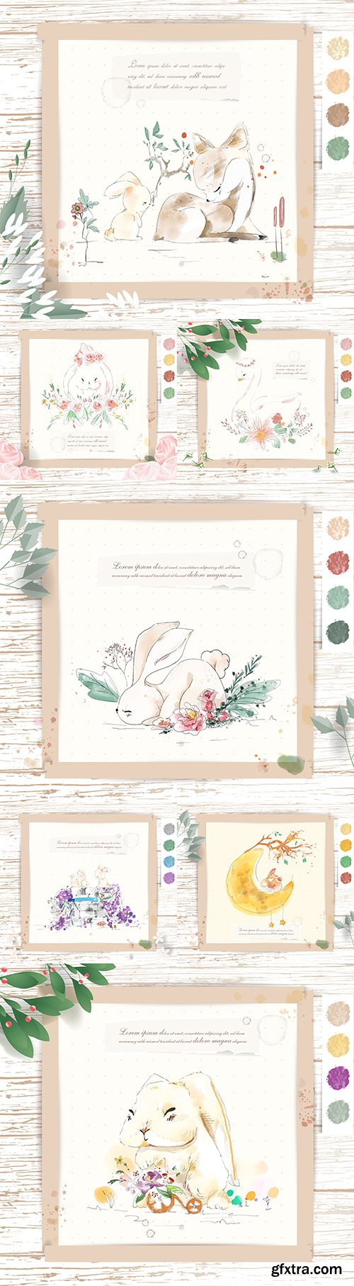 Watercolor cute animals with tropical flowers and leaves