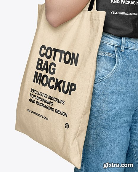 Girl w/ Cotton Bag Mockup 58842