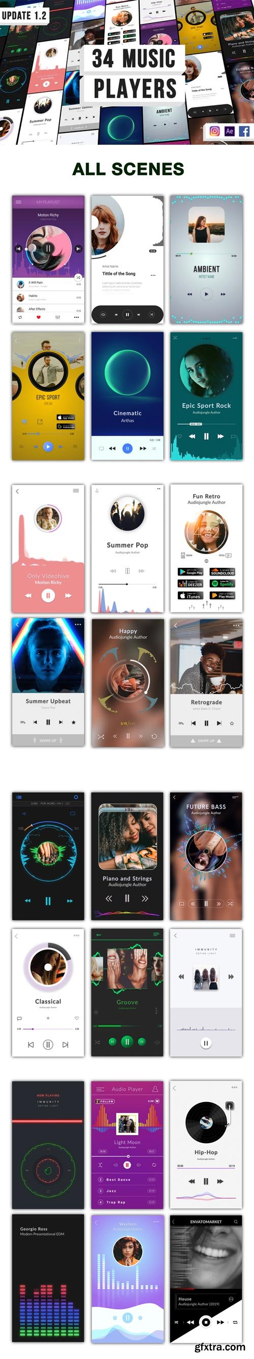 Videohive - Music Visualization Players for Instagram Story V1.2 - 24380096