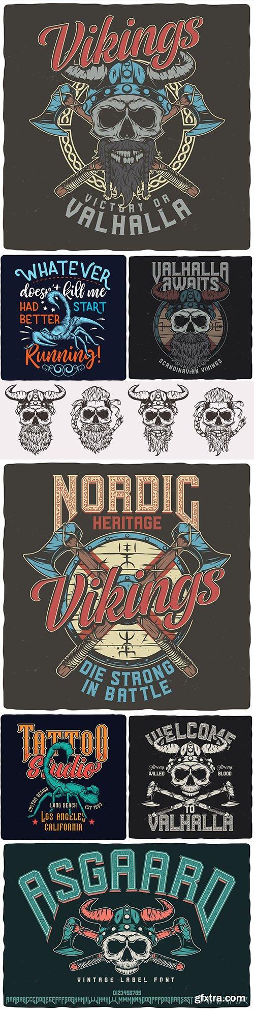 Scorpion and Viking vintage design tattoo illustrations