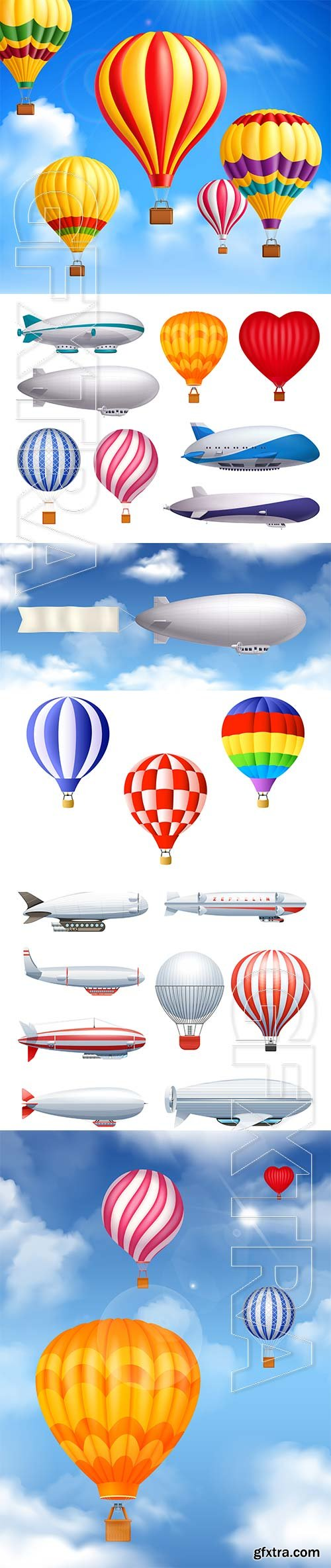 Dirigible and balloons transportation realistic vector set