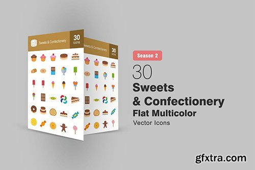 30 Sweets & Confectionery Flat Icons Season II