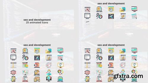 me14680860-seo-development-flat-animation-icons-montage-poster