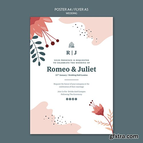 Poster template for wedding with flowers