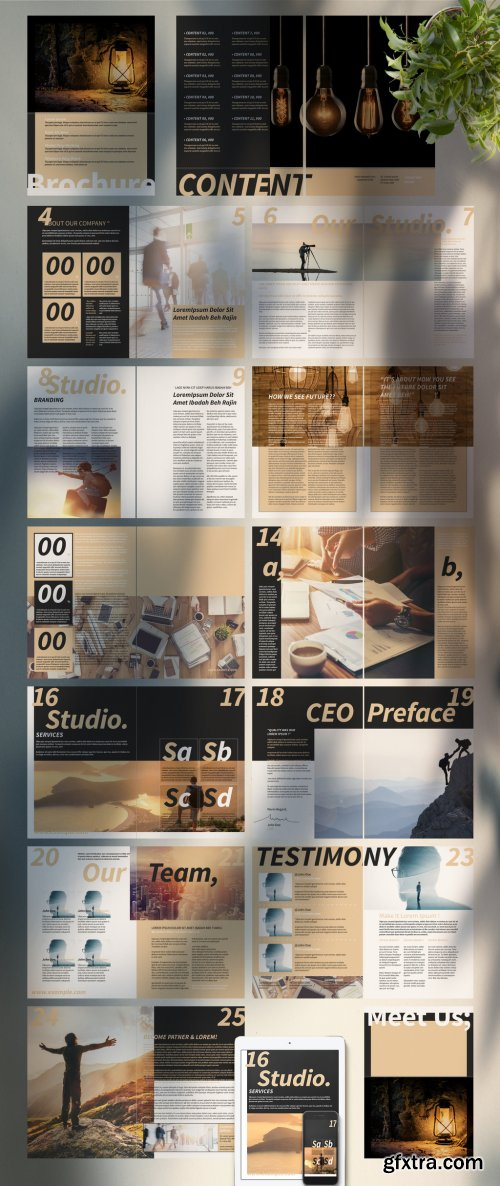 Brochure Layout with Tan Accents 334582608