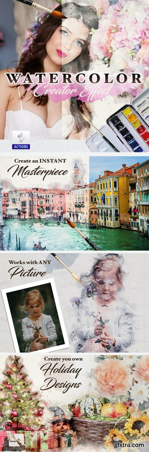 GraphicRiver - Watercolor Sketch Creator Effects Photoshop Action 26445170