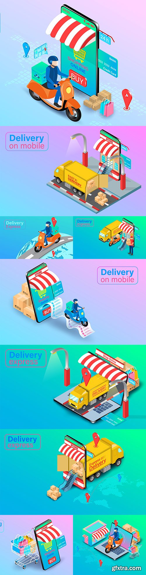 Online ordering and express food delivery isometric flat design
