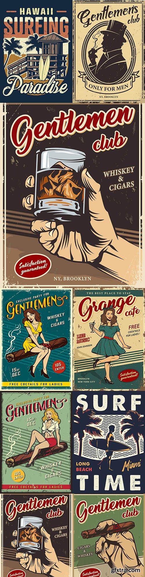 Vintage gentleman club advertising template