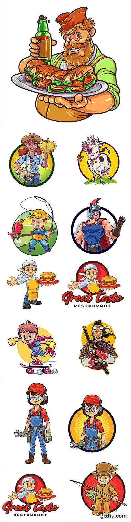 Cartoon characters different professions design emblems