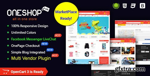 ThemeForest - OneShop v1.0.3 - Drag & Drop Muti-vendor & Multipurpose Responsive OpenCart 3 Theme - 20506236