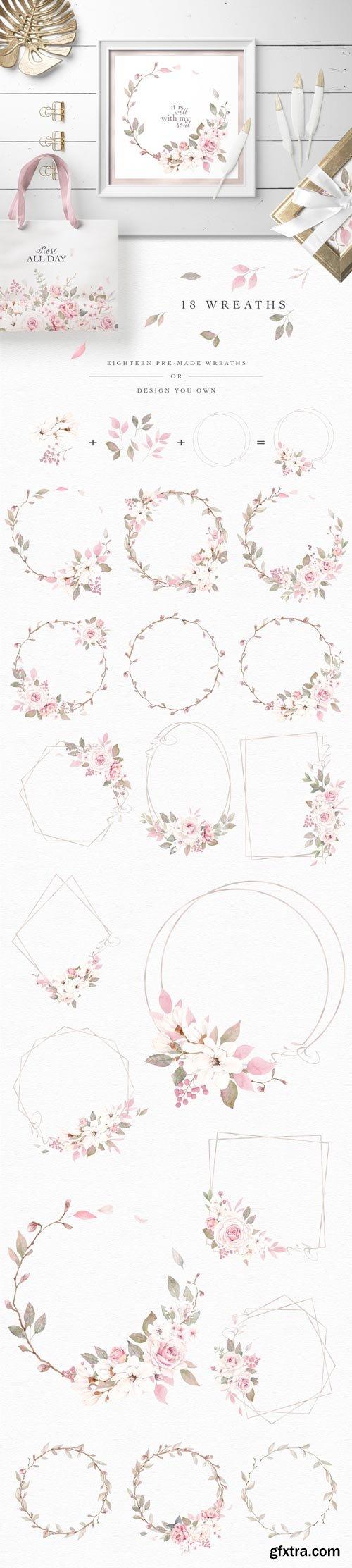 CM - Rose Watercolor Clipart & Invitation - 4593640