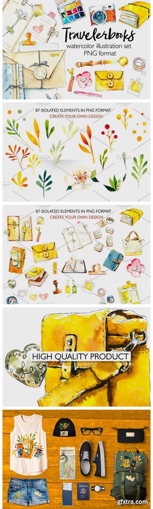 Travelbooks. Watercolor Clipart. 4164381