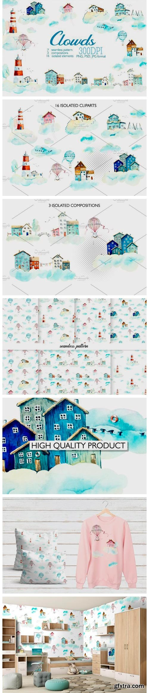 Watercolor Houses in Clouds 4165018