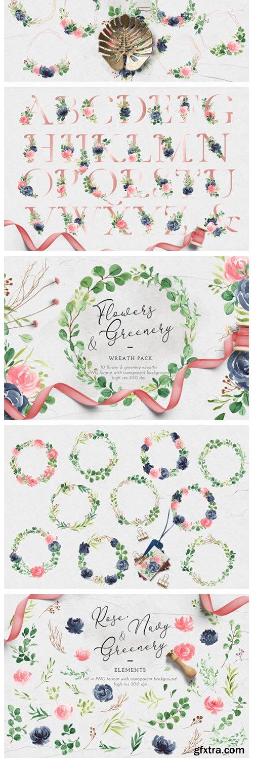 Rose, Navy & Greenery Illustration Pack 4180325