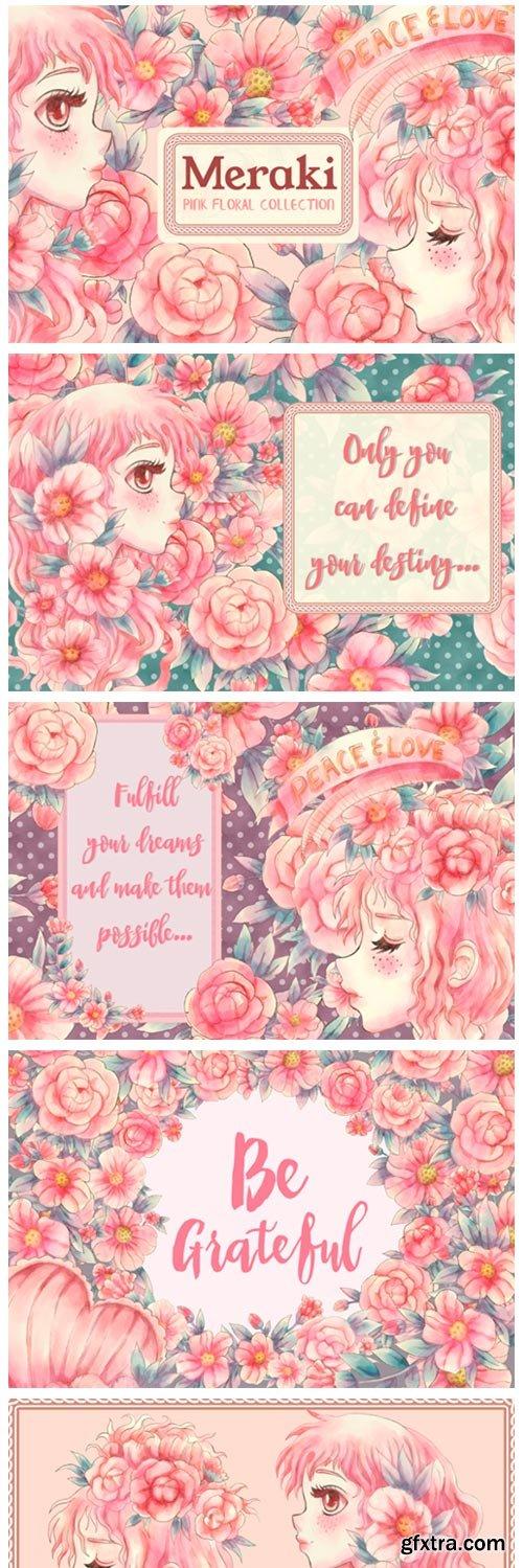 Meraki Pink Floral Collection 4178167
