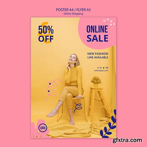Online sale poster template